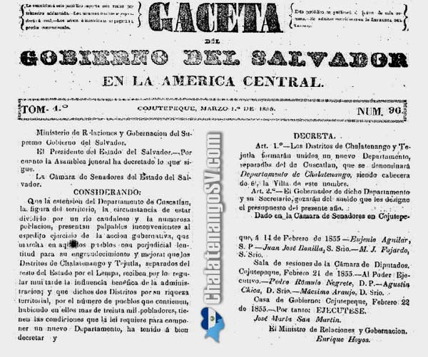 Fundación del departamento de Chalatenango