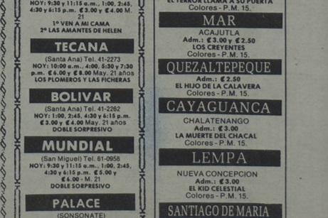 Cartelera de cines en Chalatenango (1988)