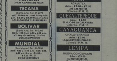 Cartelera de cines en Chalatenango (1988)