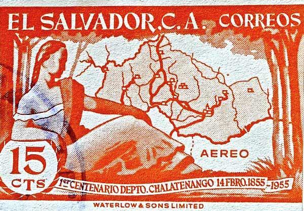 Estampilla del centenario de Chalatenango (1955)