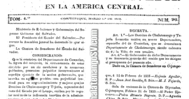 Acta de fundación del departamento de Chalatenango (1855)