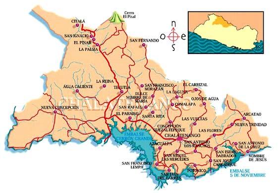Mapa del departamento de Chalatenango